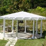 Gazebo off Tennis Court of heavy timber and lattice to match main residence.