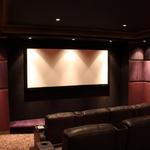 Home theater is 3 tiered amphitheater seating.